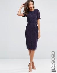 Кружевное платье-футляр миди с укороченным топом ASOS TALL
