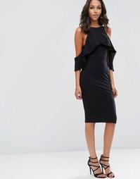 Платье миди с открытыми плечами и высоким воротом ASOS - Черный