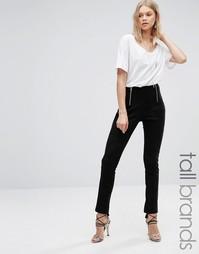 Зауженные брюки с молниями спереди Glamorous Tall - Черный