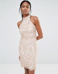 Платье с кружевным верхним слоем Missguided - Сумеречно-розовый