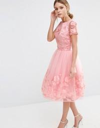 Платье миди с цветочной 3D-аппликацией Chi Chi London - Свадебная роза