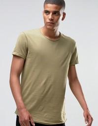 Удлиненная футболка с необработанными краями Esprit - Хаки 360