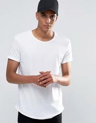 Удлиненная футболка с необработанными краями Esprit - Белый 100