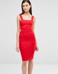 Облегающее платье миди с отделкой лямками Lavish Alice - Красный