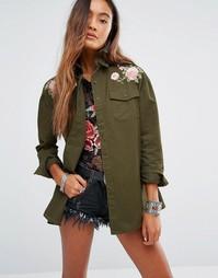 Куртка-рубашка в стиле милитари с цветочной вышивкой Young Bohemians
