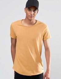 Удлиненная футболка с необработанными краями Esprit - Бежевый 270