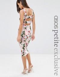 Облегающее платье с цветочным принтом и лямками сзади ASOS PETITE