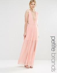 Платье макси со складками и глубоким вырезом Boohoo Petite - Blush