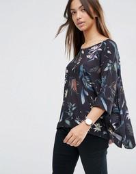 Oversize-футболка в стиле кимоно с цветочным принтом ASOS - Мульти