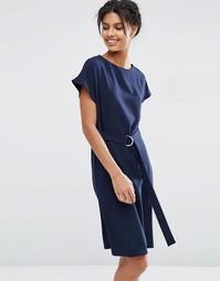 Платье миди с поясом и D‑образной пряжкой ASOS - Темно-синий