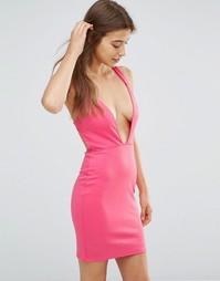 Платье мини с глубоким вырезом и бретелью сзади Oh My Love - Fuschia