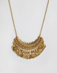 Броское ожерелье с монетками Reclaimed Vintage - Золотой