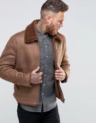 Светло-коричневая куртка с отделкой искусственным мехом ASOS - Рыжий