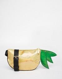 Сумка-кошелек на пояс в форме ананаса с отделкой металлик ASOS