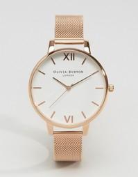 Розово-золотистые часы с большим циферблатом Olivia Burton