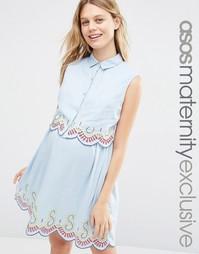 Платье для беременных и кормящих из шамбре с вышивкой ASOS Maternity