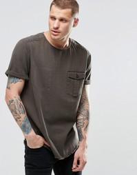 Джинсовая оversize-футболка цвета хаки в стиле милитари ASOS - Хаки