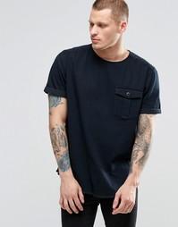 Черная джинсовая oversize‑футболка в стиле милитари ASOS - Черный