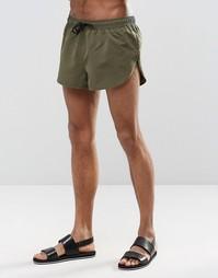 Короткие шорты для плавания цвета хаки с разрезами по бокам ASOS