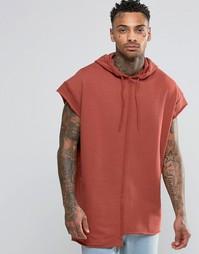 Удлиненное oversize‑худи с короткими рукавами и необработанными краями Asos
