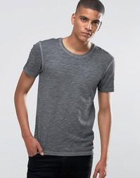 Мраморная удлиненная футболка Esprit - Черный