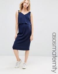 Платье с двухслойным лифом для кормящих мам ASOS Maternity