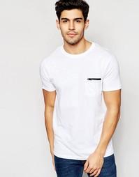 Однотонная футболка с карманом на молнии Brave Soul - Белый