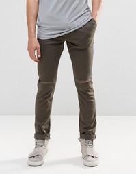 Хлопковые брюки скинни цвета хаки с разрезами на коленях ASOS