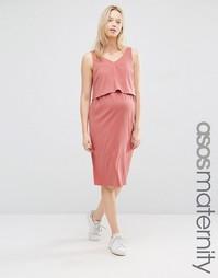 Платье с двухслойным лифом для кормящих мам ASOS Maternity - Clay