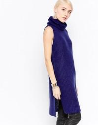 Платье-водолазка без рукавов First & I - Синие глубины