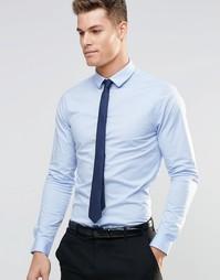 Голубая зауженная рубашка с длинными рукавами и темно-синий галстук AS Asos