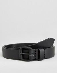 Суперузкий кожаный ремень ASOS - Черный