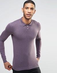 Облегающее поло из хлопкового трикотажа ASOS - Фиолетовый
