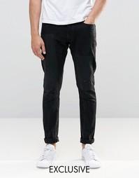Черные выбеленные состаренные джинсы слим G-Star 3301-A