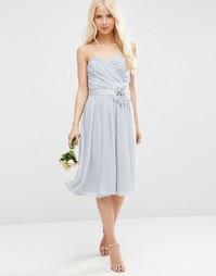 Шифоновое платье‑бандо миди со съемным украшением ASOS WEDDING