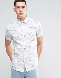 Серая классическая рубашка с короткими рукавами и камуфляжным принтом Asos