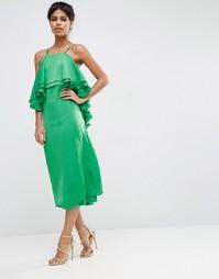 Платье миди с рюшами сзади ASOS - Ярко-зеленый