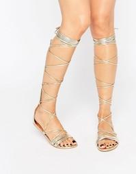 Сандалии-гладиаторы на шнуровке Daisy Street - Золотой металлик