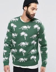Джемпер с динозаврами и пальмами ASOS - Зеленый