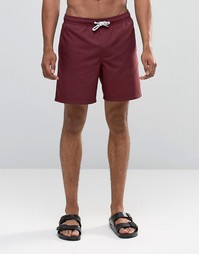 Бордовые шорты для плавания средней длины ASOS - Burgundy