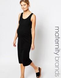 Платье миди без рукавов с оборкой спереди Mamalicious - Черный Mama.Licious