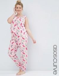 Пижамные майка и леггинсы с принтом динозавров ASOS CURVE - Розовый