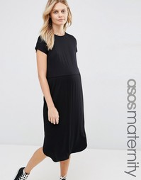 Приталенное платье‑футболка миди для беременных ASOS Maternity