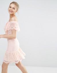 Кружевное платье с открытыми плечами Endless Rose - Nude pink