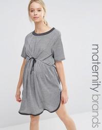 Короткое приталенное платье для беременных Bluebelle Maternity - Серый
