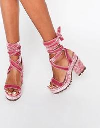 Босоножки на каблуке со шнуровкой ASOS TRIXY - Blush