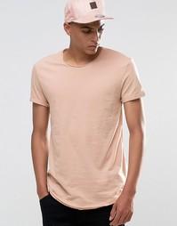 Удлиненная футболка с необработанными краями Esprit - Washed pink 685