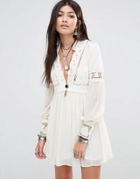 Платье с кружевными вставками Free People Dreamland - Слоновая кость