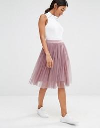 Многослойная юбка из тюля Boohoo - Mauve