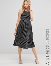 Приталенное платье миди для беременных в полоску ASOS Maternity